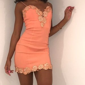 ORANGE EMBELLISHED DRESS